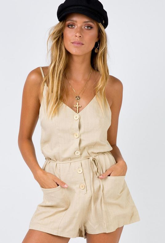 Dekorhea Cotton Spaghetti Strap V-neck Rompers For Women