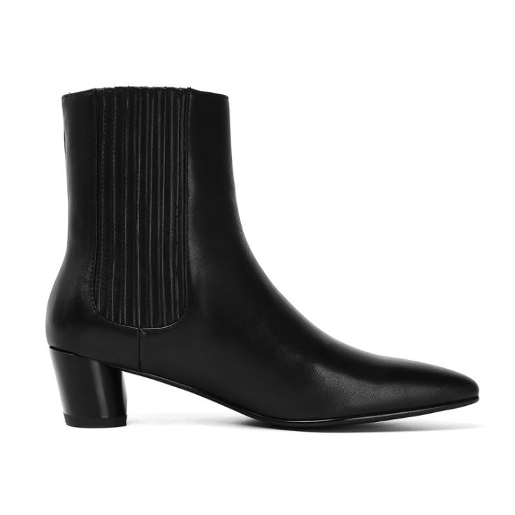 Dekorhea black smooth leather British ankle boots