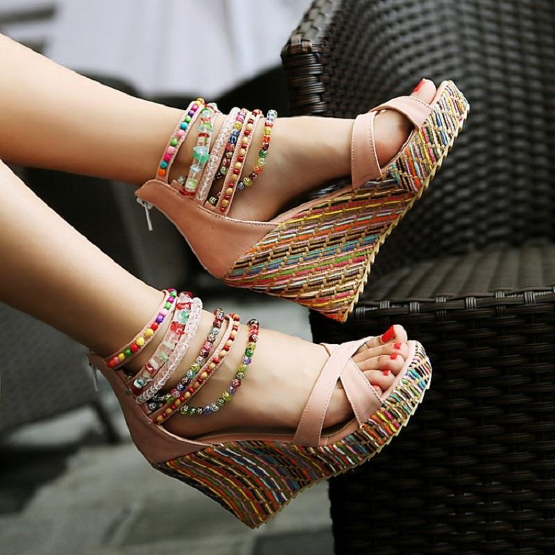 Dekorhea Bohemia Handmade beaded Wedge heel Sandals