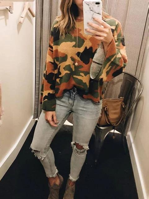 Camouflage Camo Casual Long Sleeve Printed Sweaters