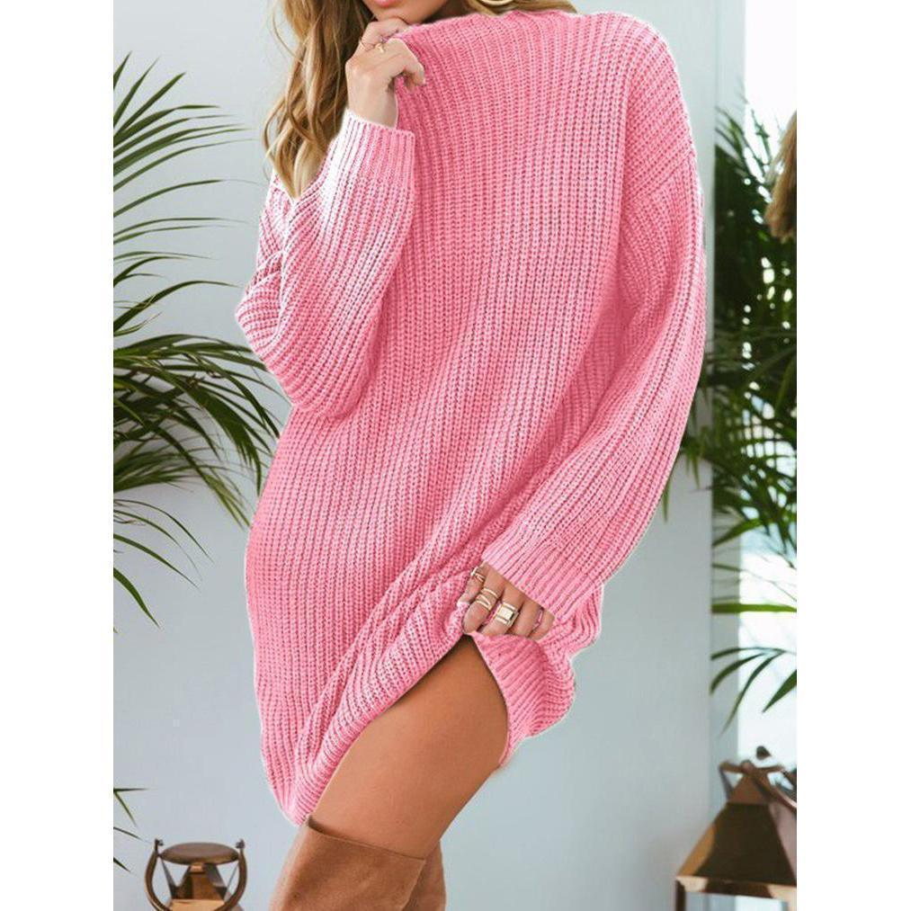 Women's Loose Casual Mid-length Solid Color Sweaters