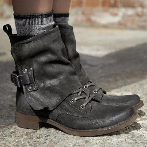 Women Vintage Buckle Boots Casual Chic Zipper Boots