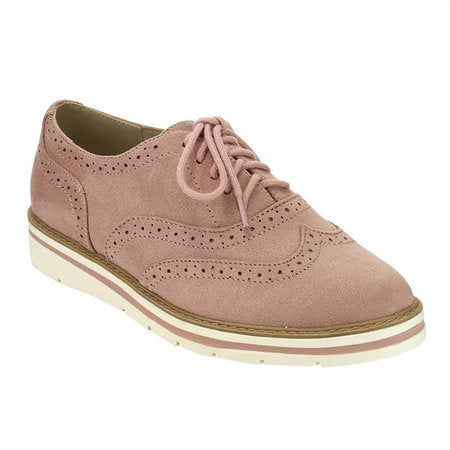 Dekorhea Women's Lace Up Perforated Oxfords Shoes Plus Size Casual Shoes