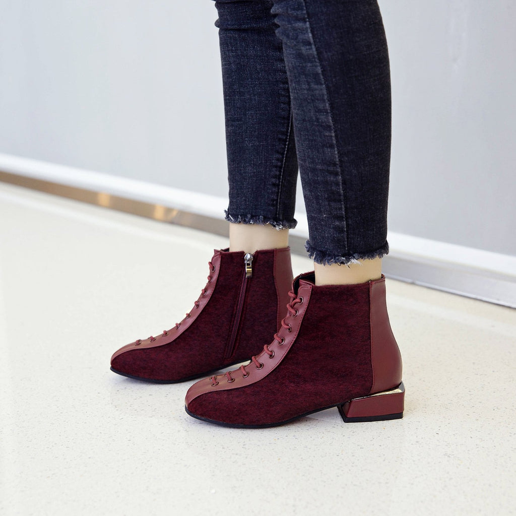 British Style Zipper Square Heel Ankle Boots