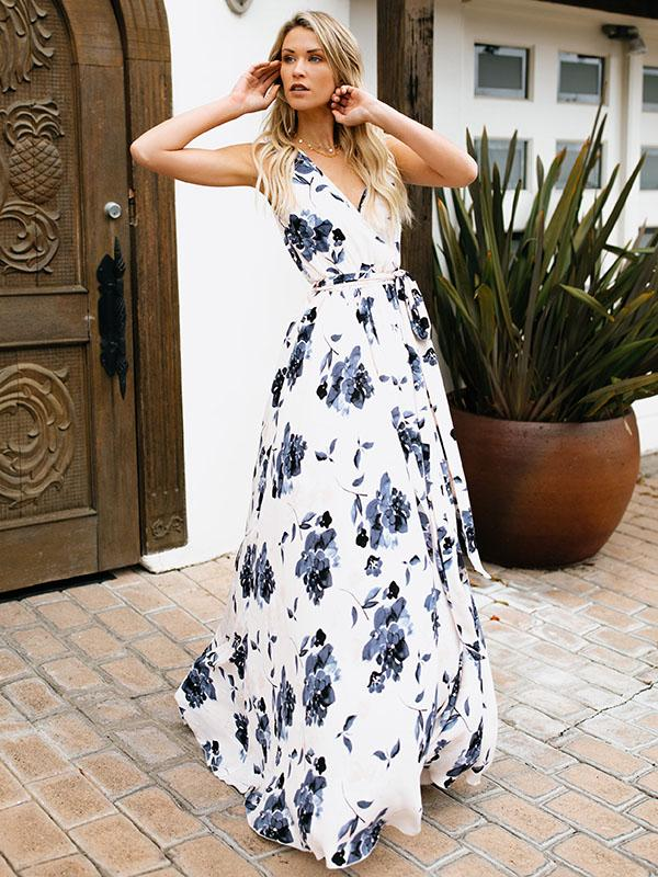 Dekorhea Bohemia Floral Sleeveless Waisted Maxi Dress