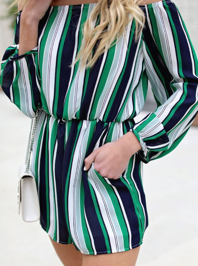 Dekorhea Green Stripe Chiffon Off Shoulder Romper Jumpsuit