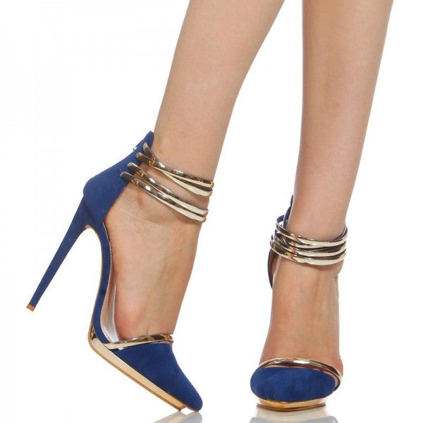 Dekorhea Cobalt Blue Shoes Metal Ankle Strap Stiletto Heel Closed Toe Sandals