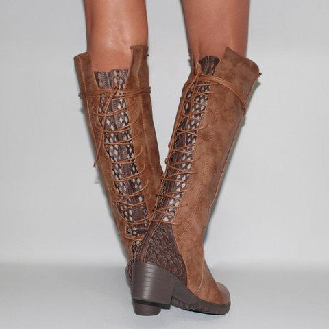 Openwork Back Straps Vintage Knee-High Boots Women's Shoes