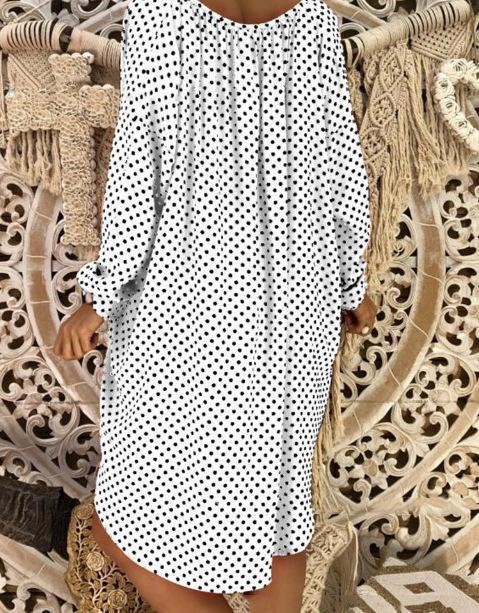 Polka Dot V-neck Long Sleeve Loose Plus Size Dress