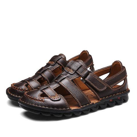 Men Genuine Leather Hand Stitching Hook Loop Beach Sandals