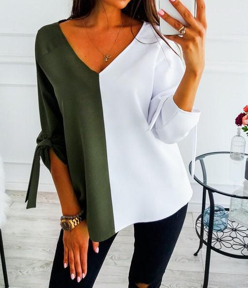 Solid Elegant V Neck Bow Color-Block T-shirts Tops