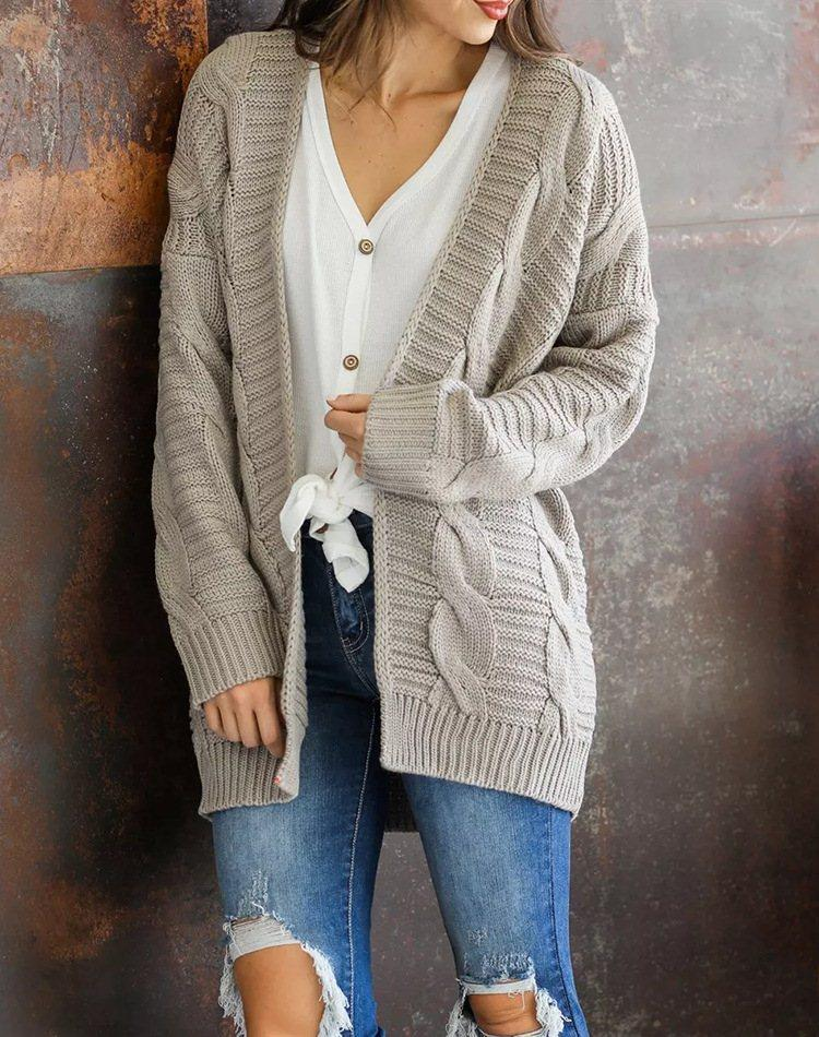 Dekorhea Comfort Solid Knit Cardigan Coat for Woman