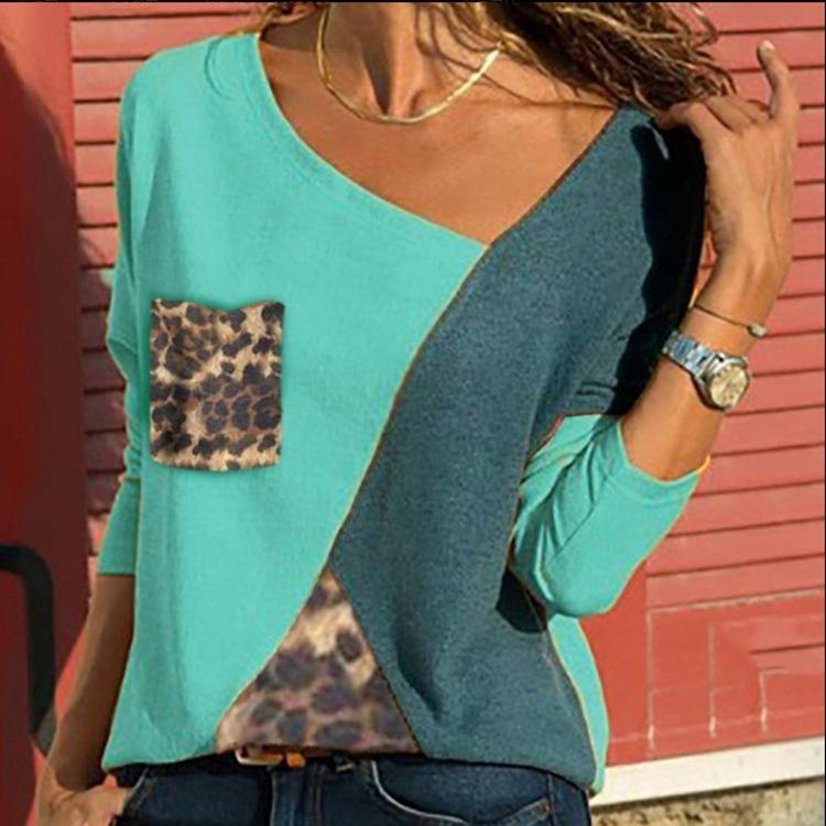 Leopard Print V Neck Casual Long Sleeve T-Shirts