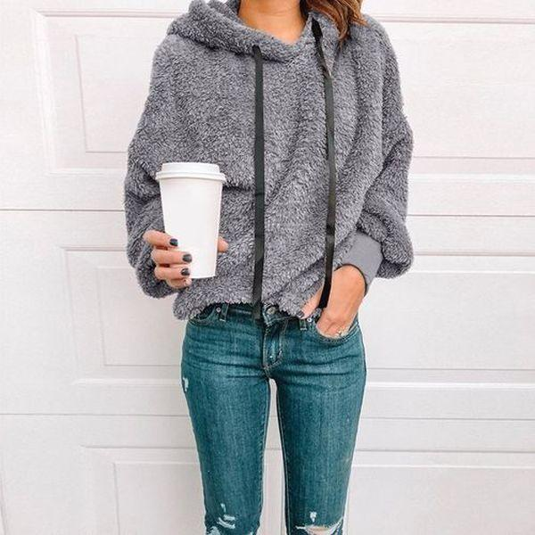 Women Fashion Long Sleeve Hooded Pullovers Casual Warm Lambswool Sweatshirts