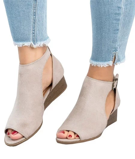 Dekorhea Ankle Strap Peep Toe Wedge Sandals