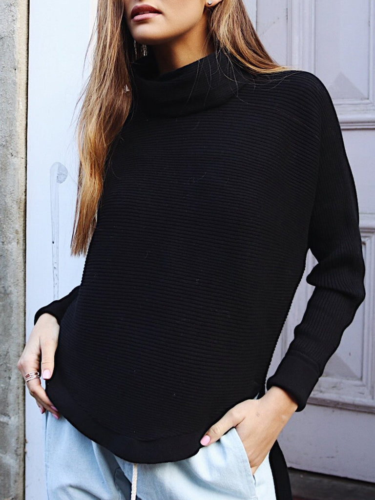 Solid Long Sleeve H-line Cowl Neck Casual Sweater