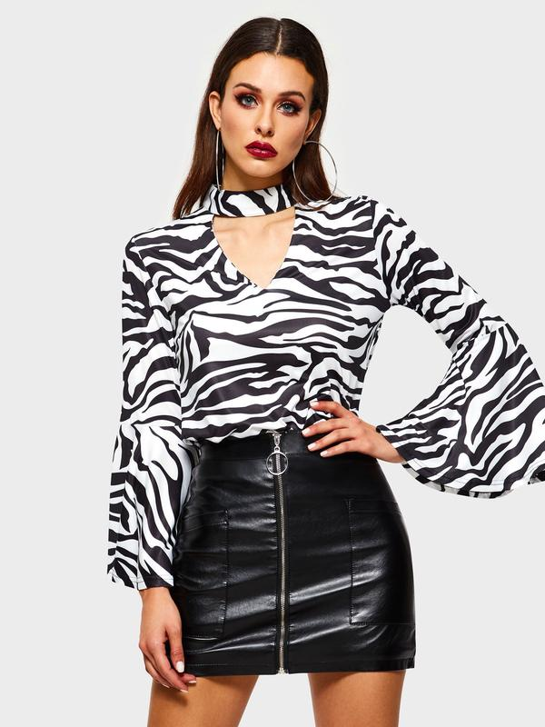 Dekorhea Print Zebra Stripe Flare Sleeve Long Sleeve Standard blouses for women