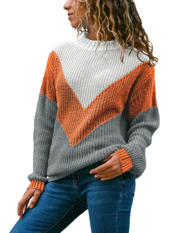 Casual O-Neck Contrast Color Knitted Sweater