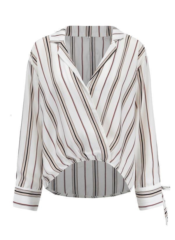 Fall Spring Cotton V Neck Striped Long Sleeves Shirt Blouses