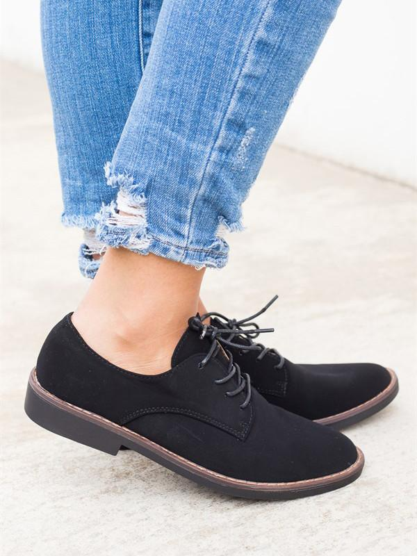 Dekorhea Fall Trendy Comfort Oxfords Shoes Lace-up Daily Faux Suede Loafers