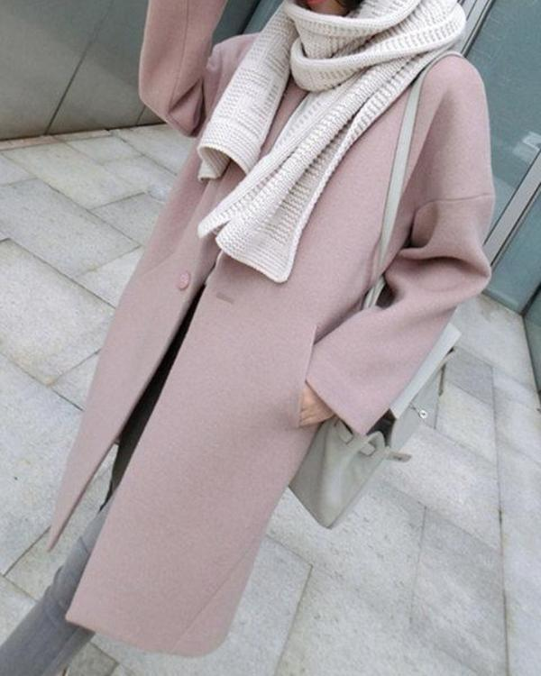 Dekorhea Pink Shawl Collar Wool-blend Slit Casual Coat
