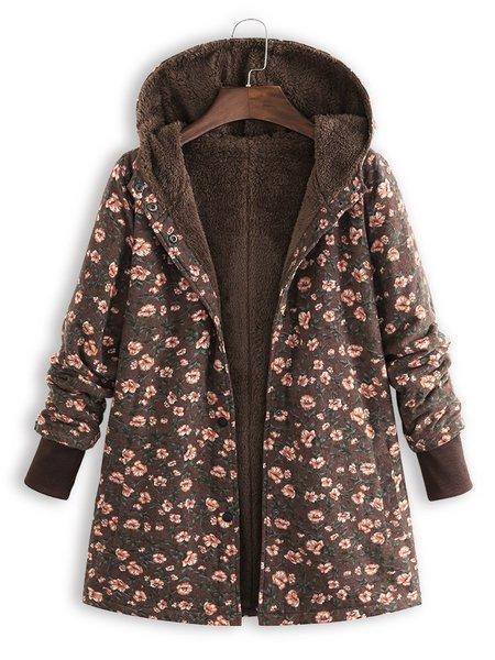 Printed Long Sleeve Vintage Floral Coat