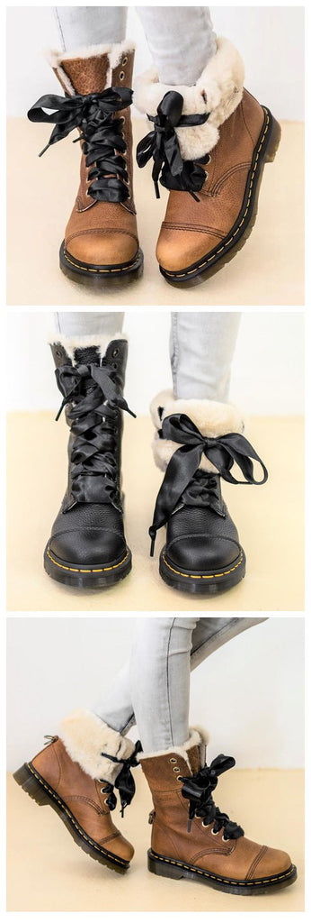 Womens Lace-Up Winter Low Heel Casual Combat Snow Boots