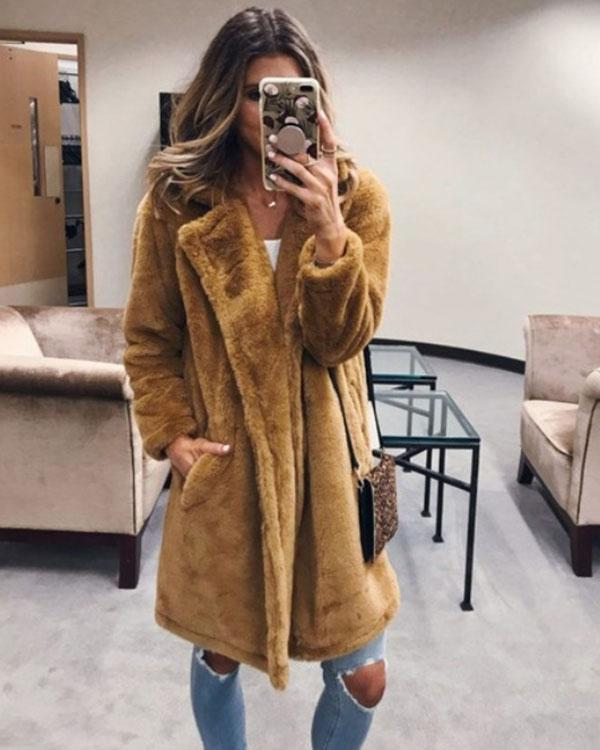 Dekorhea Fashion Solid Color Long Warm Coat for Women