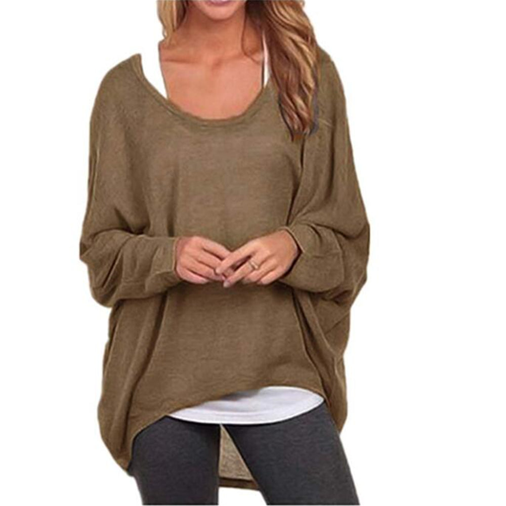 Women's Sexy Long Batwing Sleeve Loose Pullover Casual Top Blouse T-Shirt
