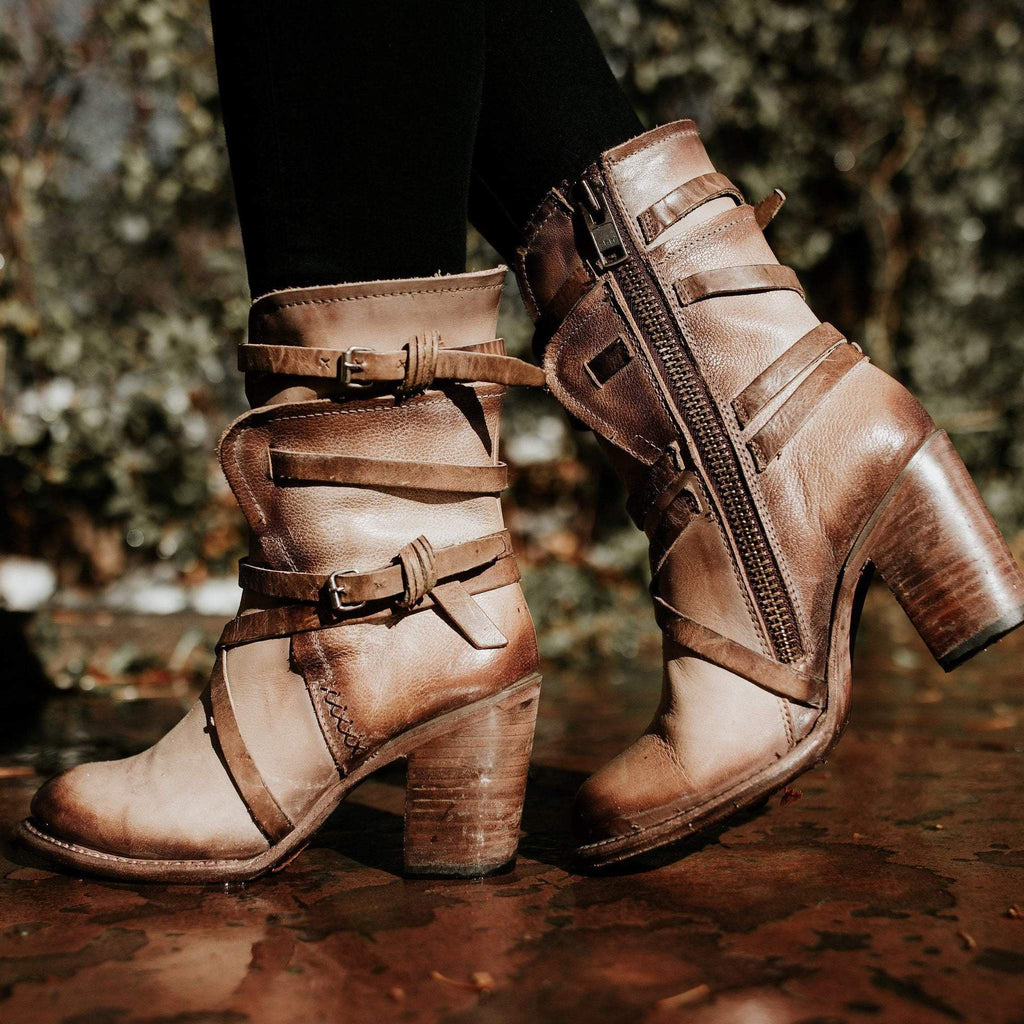 Women Vintage Zipper Mid-Calf Boots
