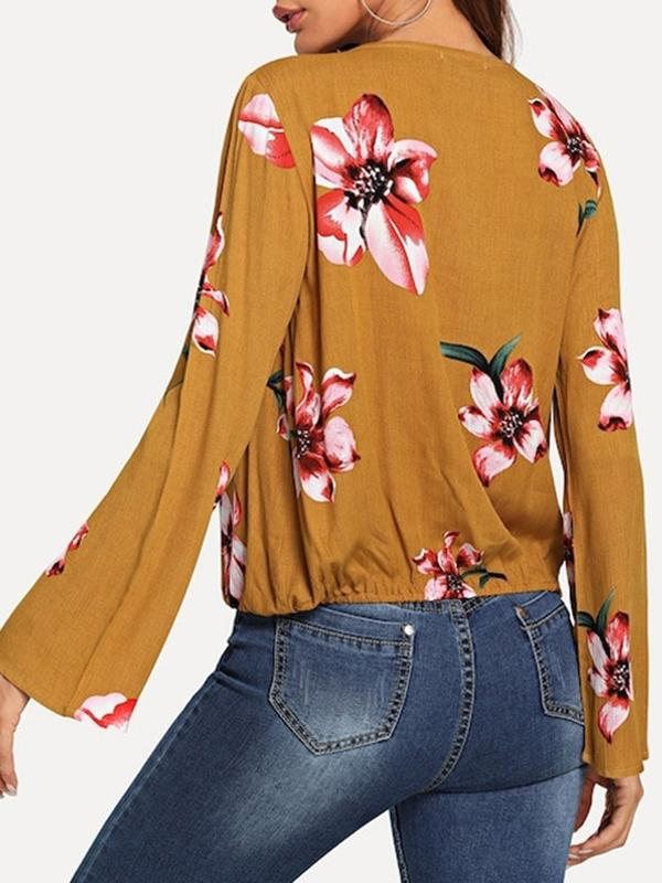 Dekorhea V-Neck Floral Print long sleeve blouse