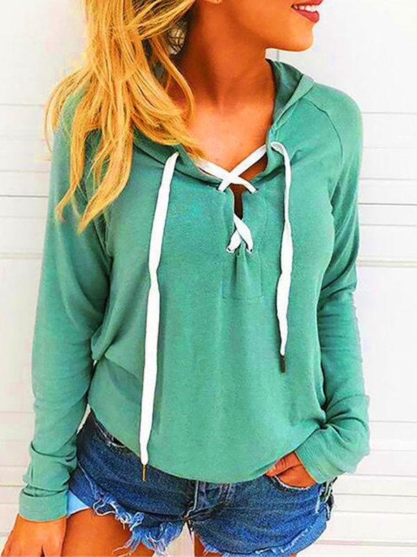 Casual Long Sleeved V-neck Strap Open Chest Hoodie Sweater
