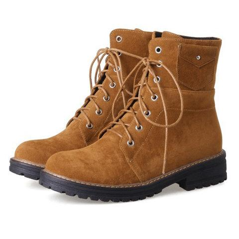 Women Casual Martin Boots Lace Up Shoes