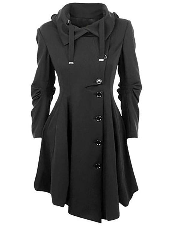 Dekorhea Women Long Sleeve Collar Buttons Trench Coats