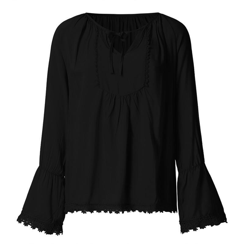 Women Casual Round Neck Solid Long Sleeve Blouses Tops