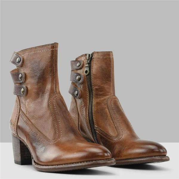Dekorhea Women Vintage Side Zipper Round Toe Casual Boots