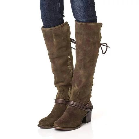 Vintage Knee-high Boots Zipper Faux Suede Boots