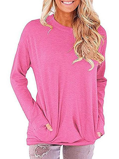 Pockets Solid Casual Long Sleeve Plus Size T-Shirt