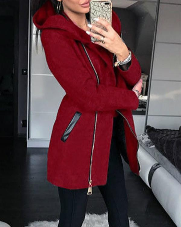 Women Zipper Casual Plus Size Hooded Sweatshirts Tops