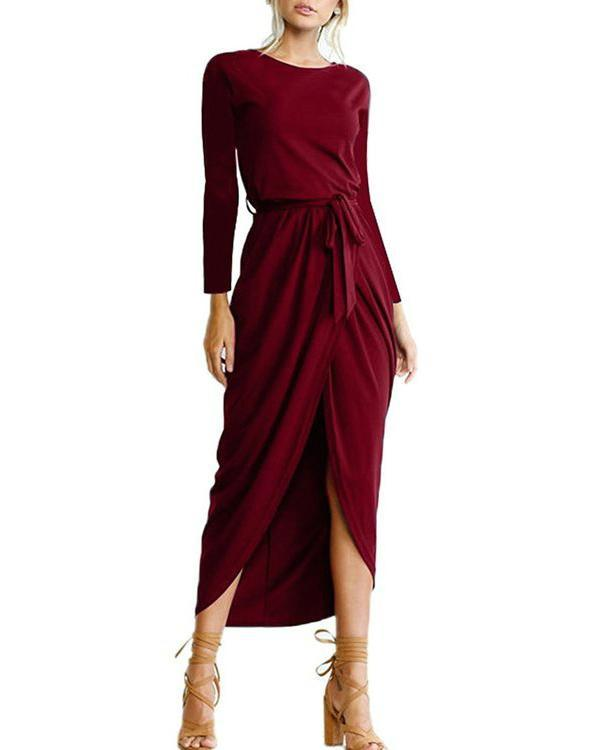 Elegant Solid Color Long Sleeve Split-front Round-neck Maxi Dress