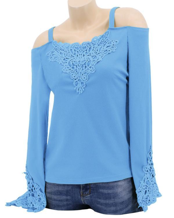 Women Elegant Lace Patchwork Long Sleeve Solid Color Blouses Tops