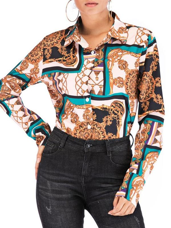 Dekorhea Print Lapel Regular shirts and blouses