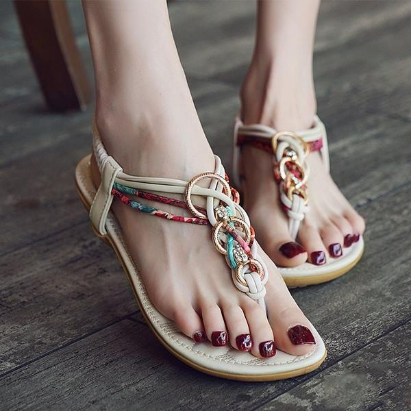 Round Toe T-Shaped Buckle Geometric Flat Casual Sandals