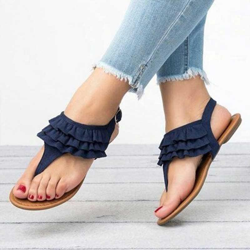 Thong Buckle Plain Casual Sandals