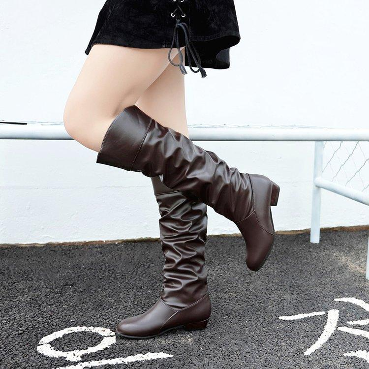 Women Chunky Low Heel Knee Height Knight Boots