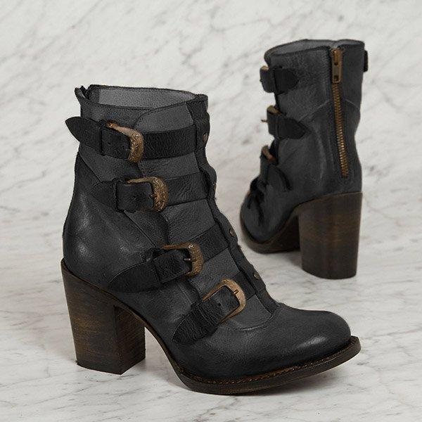 Women Vintage Chunky Heel Buckle Boots Casual Back Zipper Boots
