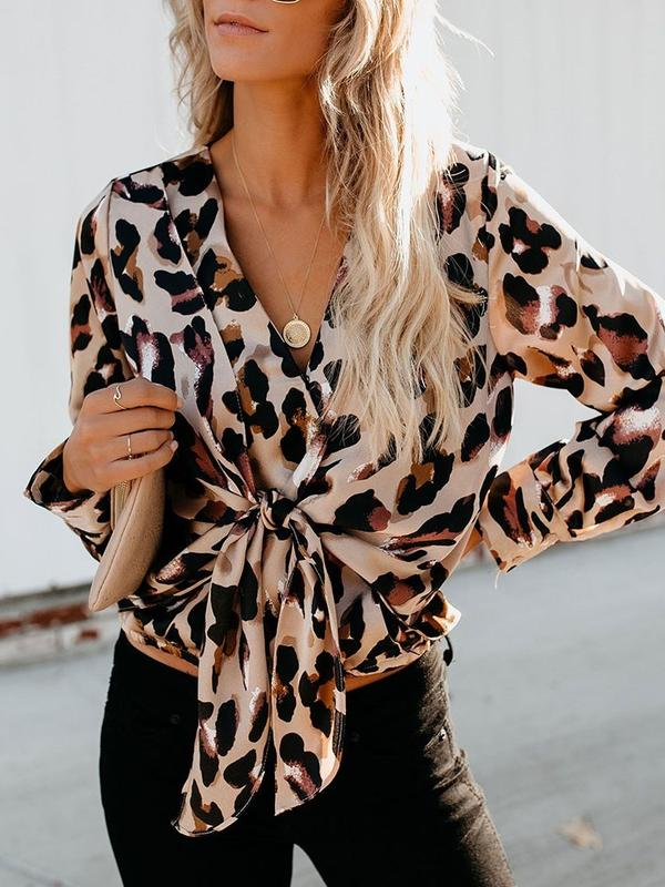 Dekorhea Regular V-Neck Leopard Long Sleeve Blouses for women