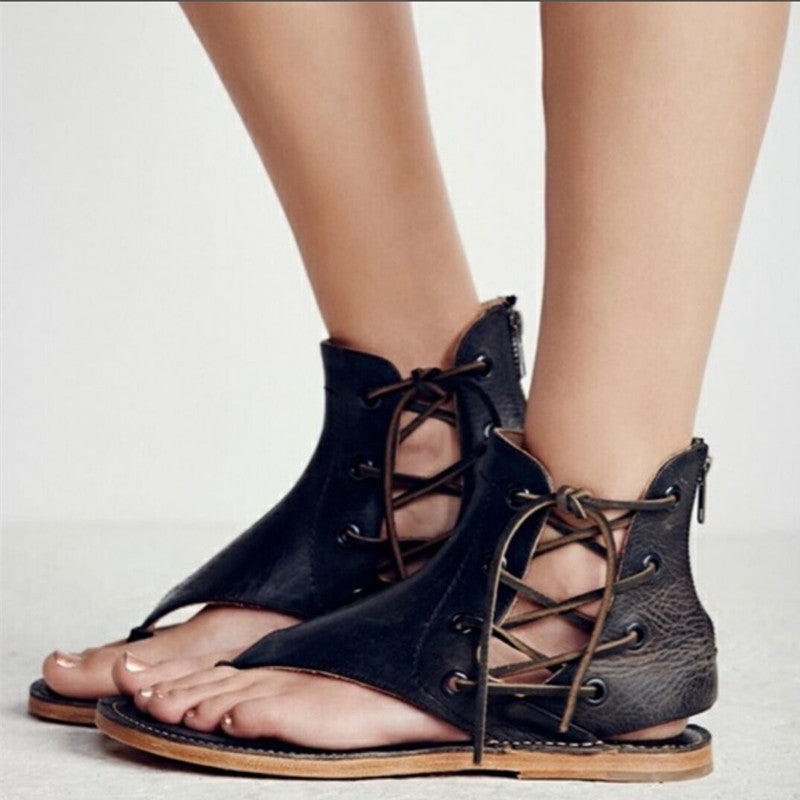 Dekorhea New Fashion Women Leisure Lace up Flat Sandals