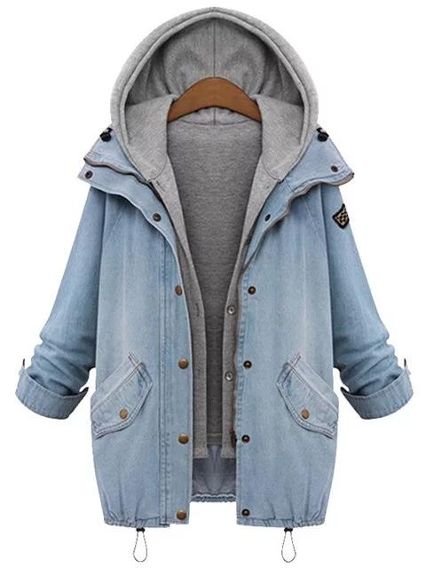 Dekorhea Two Pieces Denim Coats with Hoodie Vest