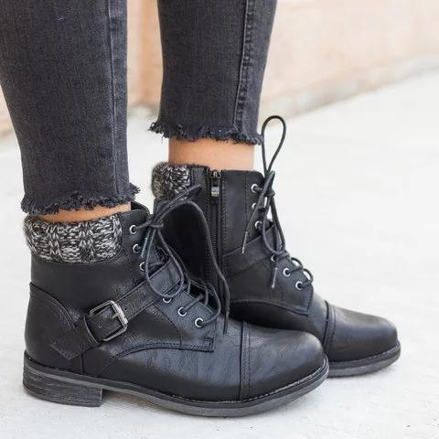 Women Beautiful Knitted Buckle Boots Combat Lace-Up Plus Size Boots
